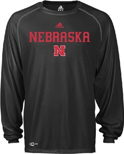 Adidas Nebraska Cornhuskers Climalite Black Wordmark Long Sleeve Top