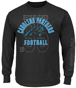 Carolina Panthers Black Power Technique Long Sleeve T Shirt By Majestic