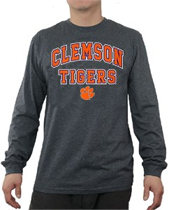 Clemson Tigers Charcoal Adult Flanker Long Sleeve Tee Shirt by E5