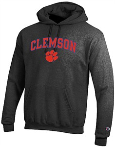 Clemson Tigers Granite Heather Champion Campus Powerblend Screened Hoodie Sweatshirt