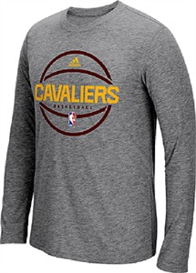 Cleveland Cavaliers Adidas On-Court Grey Pre-Game Slimmer Fit Synthetic Long Sleeve T Shirt