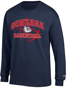 Gonzaga Bulldogs Blue Basketball Long Sleeve T Shirt by Champion