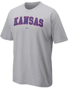 Kansas Jayhawks Classic Grey College Short Sleeve Tee Shirt By Nike Team Sports