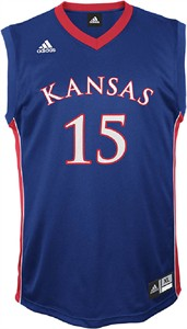 Kansas Jayhawks #15 Royal Replica College Basketball Jersey by Adidas
