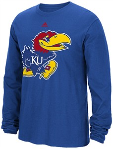Kansas Jayhawks Royal Adidas Huge Preferred Logo Long Sleeve T Shirt