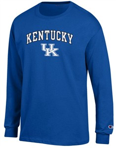 Kentucky Wildcats Mens Royal Stadium Long Sleeve Tee Shirt by Champion