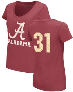 Ladies Alabama Crimson Tide Crimson 2 Sided King Pin Scoop Neck T Shirt by Colosseum