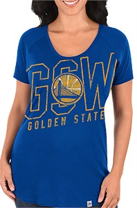 Ladies Golden State Warriors Royal Fanatic Force Short Sleeve Scoop Neck Tee Shirt