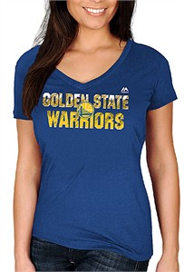 Ladies Golden State Warriors Royal Get Aggressive V Neck Short Sleeve Tee Shirt