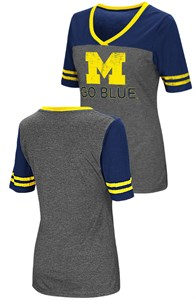 Ladies Michigan Wolverines Junior Sized MC Twist V Neck T Shirt