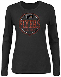 Ladies Philadelphia Flyers Black Far From Finished Long Sleeve T Shirt