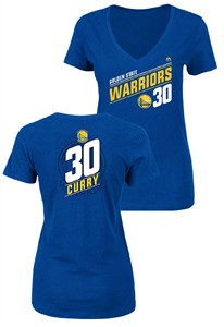 Ladies Stephen Curry Golden State Warriors Solid Recruit V Neck T Shirt