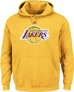 Los Angeles Lakers Mens Gold Majestic Logo 2 Hoodie Sweatshirt