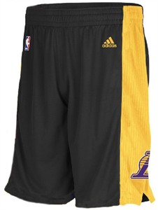 Los Angeles Lakers Youth Black Team Pride Replica Basketball Shorts by Adidas
