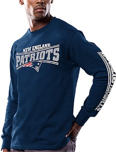 Men's New England Patriots Navy Primary Receiver 9 Long Sleeve T Shirt By Majestic