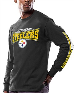 Men's Pittsburgh Steelers Black Primary Receiver 9 Long Sleeve T Shirt By Majestic