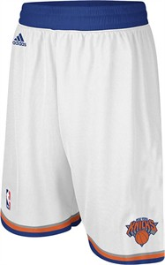 New York Knicks White Embroidered Swingman Shorts By Adidas