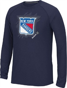New York Rangers Navy Frost Logo Long Sleeve Synthetic T Shirt by Reebok