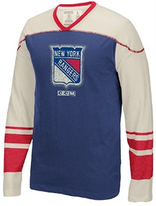 New York Rangers Vintage CCM Blue Long Sleeve Applique T Shirt