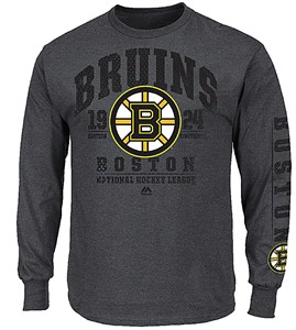 NHL Boston Bruins Charcoal Heather In Game Call Long Sleeve Tee Shirt
