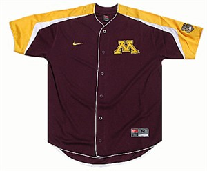 Nike Minnesota Golden Gophers College Power Alley Tackle Twill Embroidered Baseball Jersey