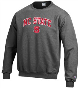 North Carolina State Wolfpack Granite Heather Champion Campus Powerblend Screened Crew Sweatshirt