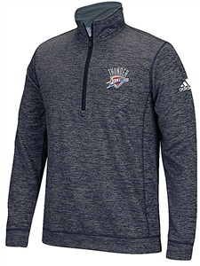 Oklahoma City Thunder Grey Adidas 1/4 Zip 4 Corner Embroidered Synthetic Shirt