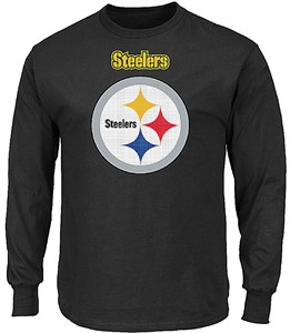 Pittsburgh Steelers Adult Black Critical Victory 2 Majestic Long Sleeve T Shirt