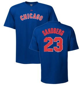 Ryne Sandberg Chicago Cubs Blue MLB Throwback 2 Sided Short Sleeve Tee Shirt By Majestic