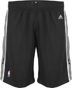 San Antonio Spurs Black Tack Twill Logo Swingman Shorts By Adidas