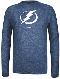Tampa Bay Lightning Reebok Heather Blue Ultimate Jersey Crest Long Sleeve Synthetic T Shirt