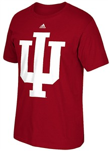 Adidas Indiana Hoosiers Varsity Red Polyester Synthetic Huge  Logo Climalite T Shirt