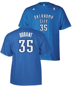 Adidas Kevin Durant Oklahoma City Thunder #35 Player Name T Shirt