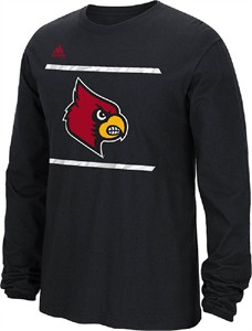 Adidas Louisville Cardinals Black Sidelines Energize Long Sleeve Tee Shirt