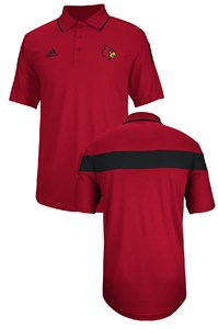 adidas Louisville Cardinals Red 14 Sideline Coaches Performance Polo Shirt