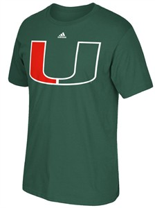 Adidas Miami Hurricanes Green Polyester Synthetic Huge Logo Climalite T Shirt