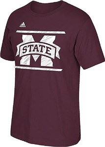 Adidas Mississippi State Bulldogs Maroon Sidelines Energize T Shirt