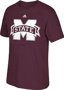 Adidas Mississippi State Bulldogs Maroon Synthetic Huge Preferred Logo Climalite T Shirt