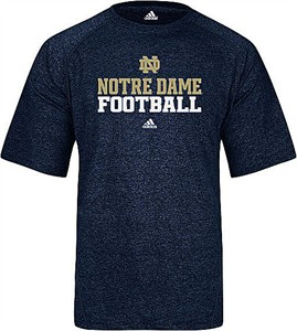 Adidas Notre Dame Fighting Irish Heather Blue Climalite Football Short Sleeve Shirt on Sale