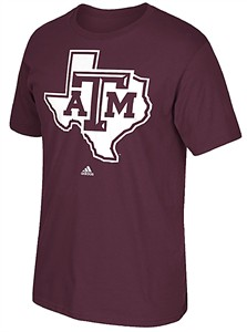 Texas A&M Aggies Maroon Synthetic Huge Preferred Logo Climalite T Shirt