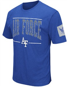 Air Force Falcons Mens Royal Spare A Square Short Sleeve College Tee Shirt on Sale