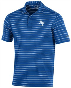 Air Force Falcons Mens Royal Stripe 2.0 Under Armour Performance Polo Shirt on Sale