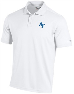 Air Force Falcons Mens White Under Armour Polyester Polo Shirt on Sale