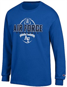 Air Force Falcons Royal Football Long Sleeve Tee Shirt by Champion
