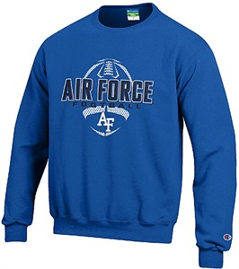 Air Force Falcons Royal Football Powerblend Screened Crew Sweatshirt by Champion on Closeout