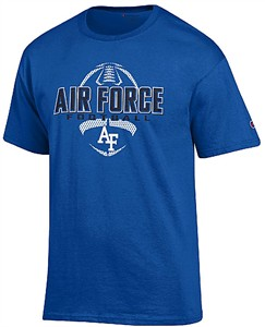 Air Force Falcons Royal Football Short Sleeve T Shirt by Champion on Sale