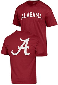 Alabama Crimson Tide Crimson 2 Sided Arched Short Sleeve T Shirt by Champion