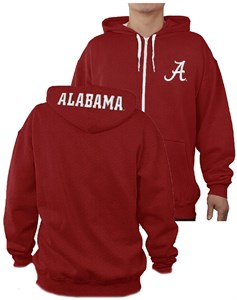 Alabama Crimson Tide Mens Crimson Embroidered Peak Full Zip Hoodie Sweatshirt