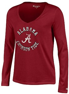 Alabama Crimson Tide Women's Crimson University Long Sleeve V Neck T Shirt