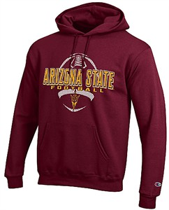 Arizona State Sun Devils Maroon Football Powerblend Screened Hoodie Sweatshirt by Champion